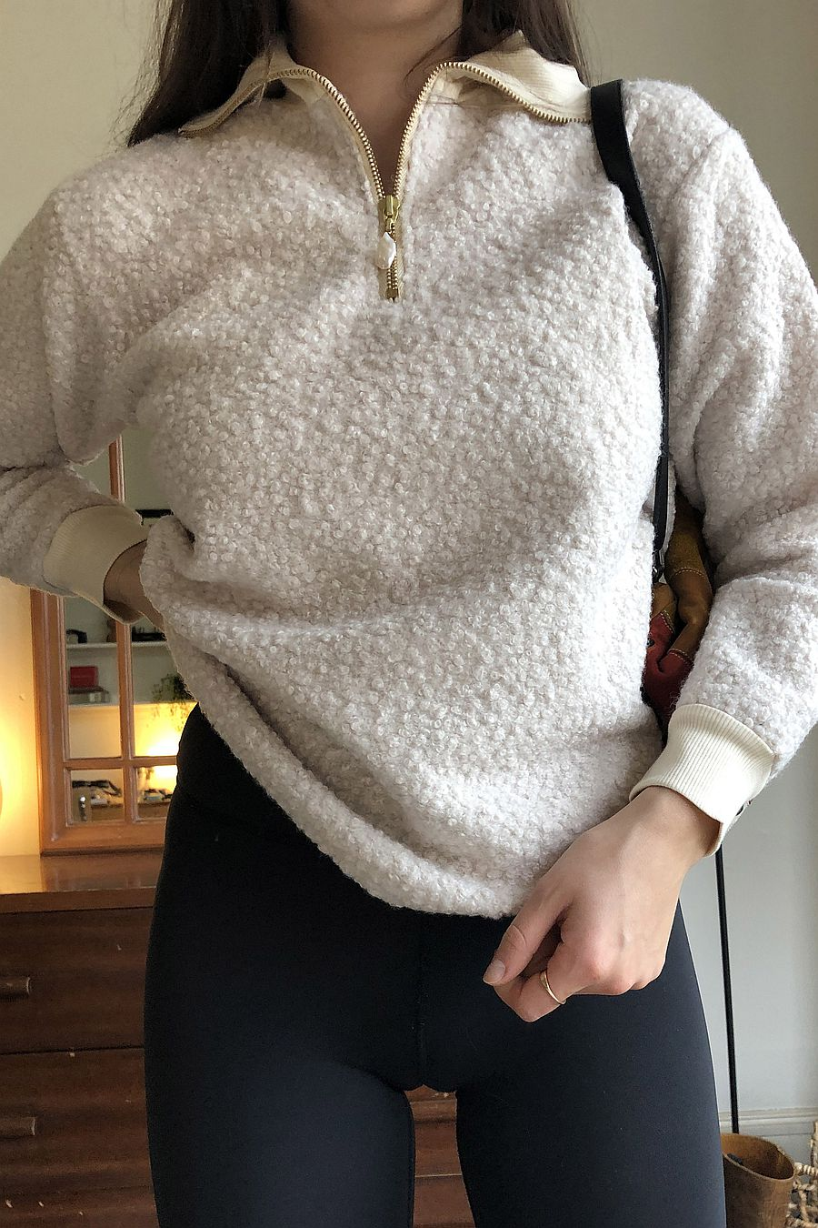 DONNI. Curly 1/2 Zip Pullover - Creme