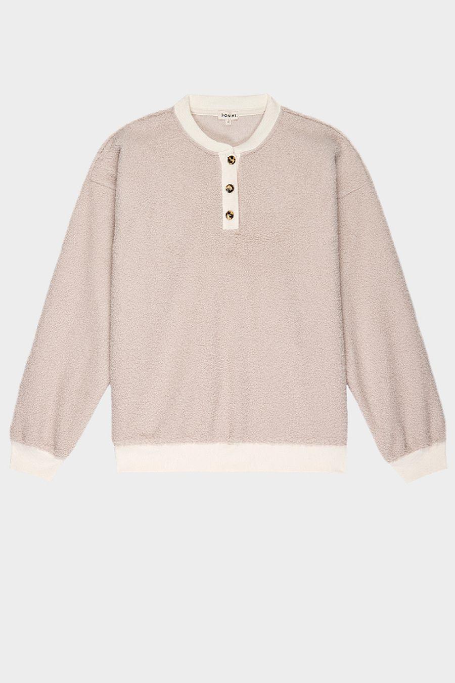 DONNI. Mini Sherpa Henley Sweatshirt - Creme