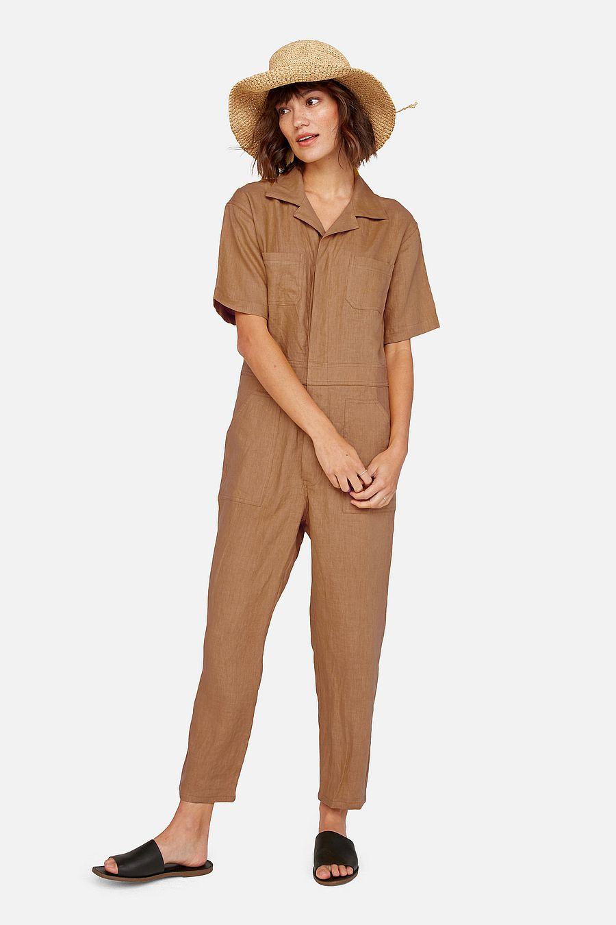 MATE The Label Linen Short Sleeve Jumpsuit - SEDONA