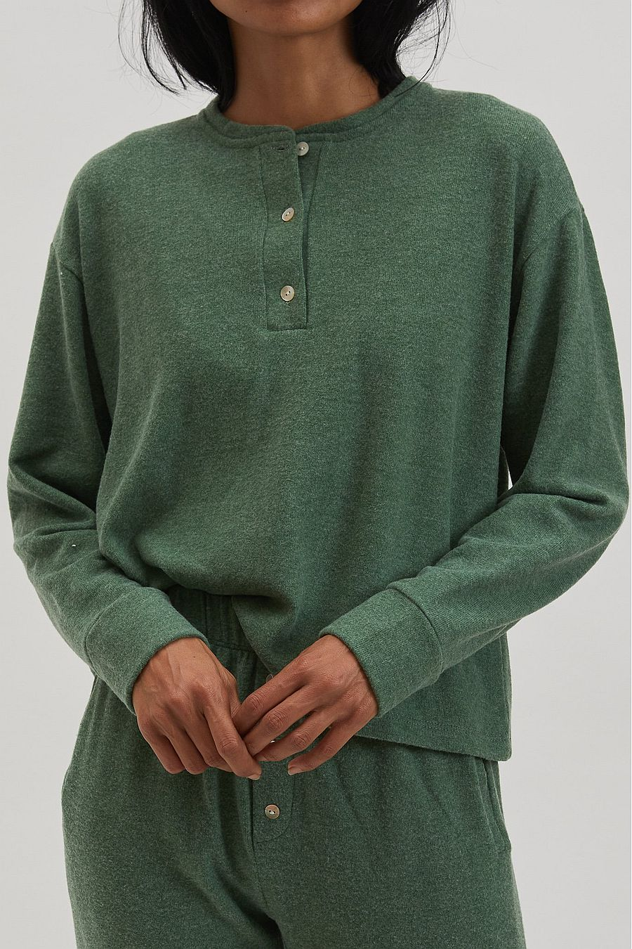 DONNI. Sweater Henley - Kelly
