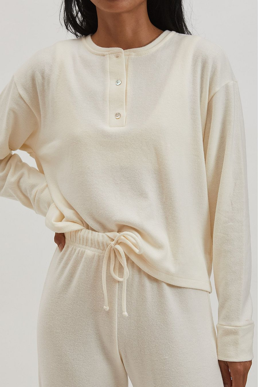 DONNI. Sweater Henley - Creme