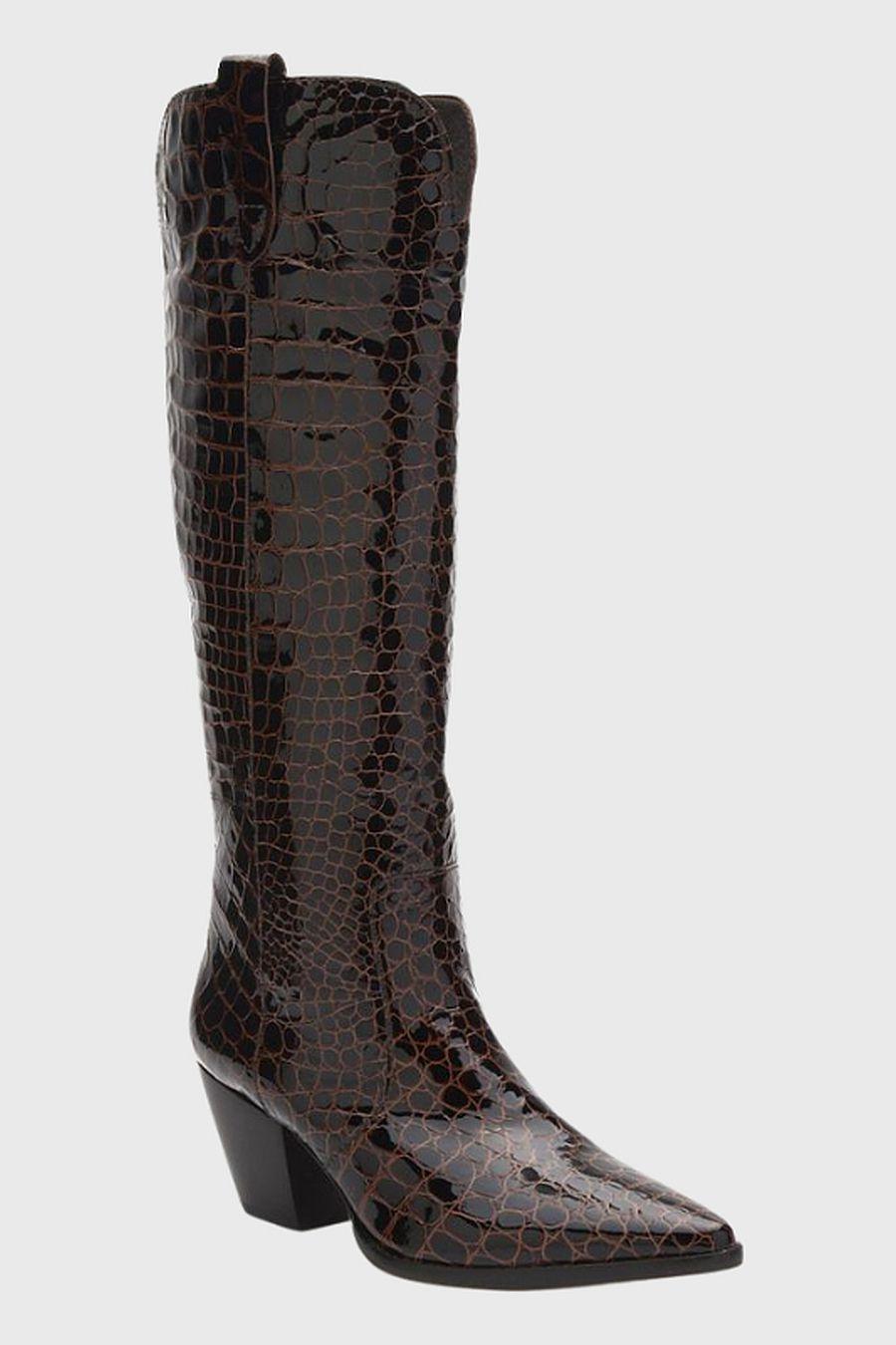 Matisse Footwear Stella Western Boot - chocolate croc
