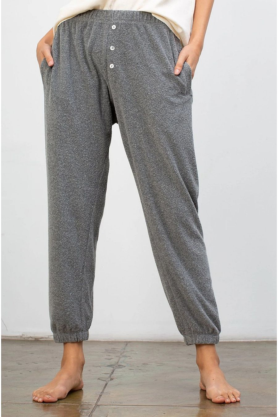 DONNI. Terry Henley Sweatpant - Heather Grey