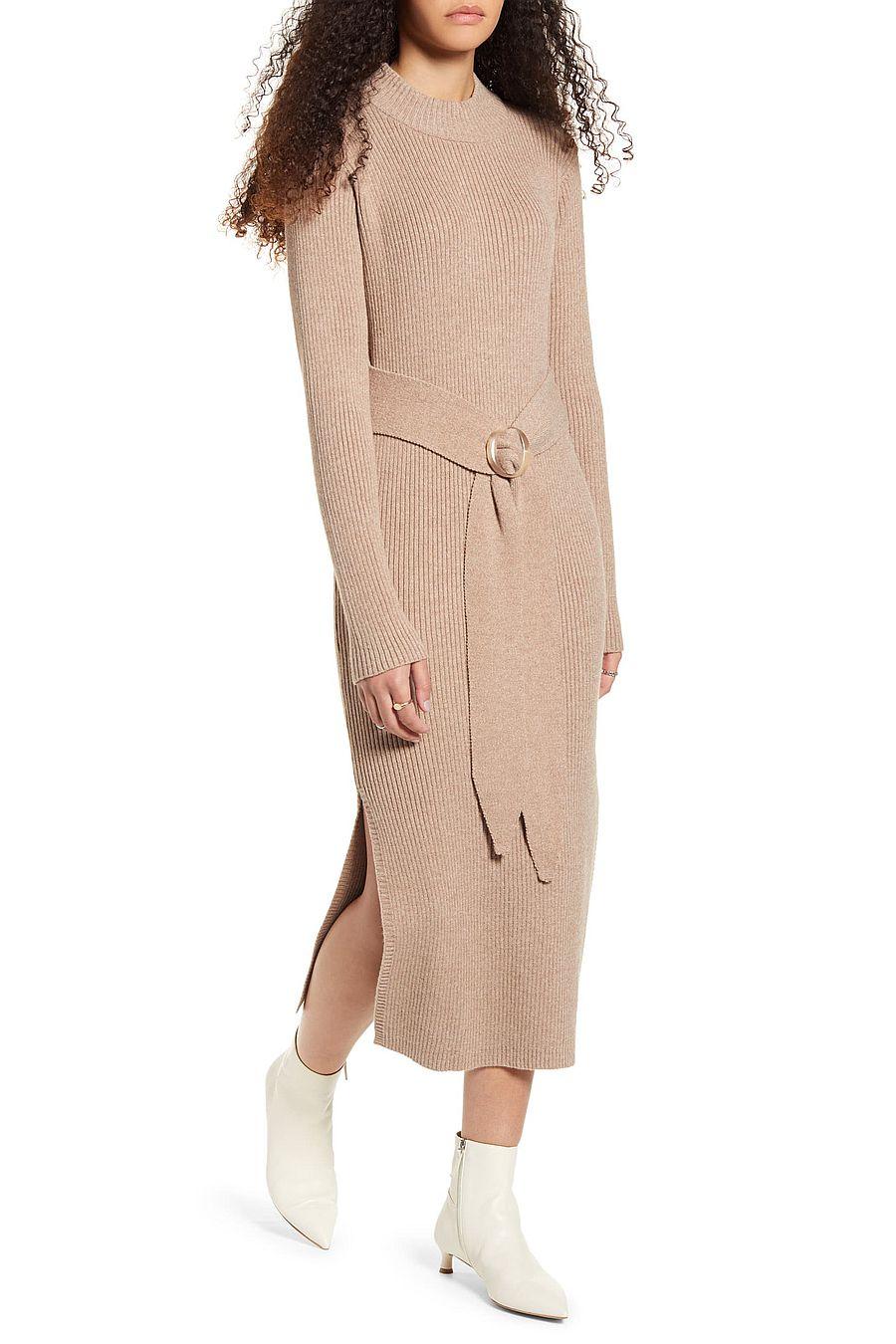 Moon River Front-tie Turtleneck Dress