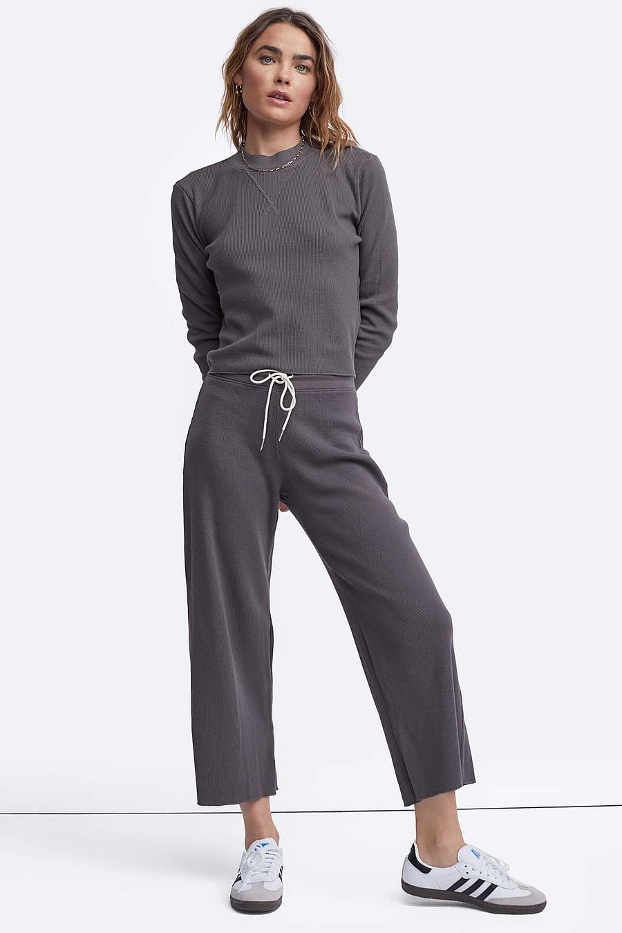 MATE The Label Organic Thermal Wide Leg Pant - CHARCOAL